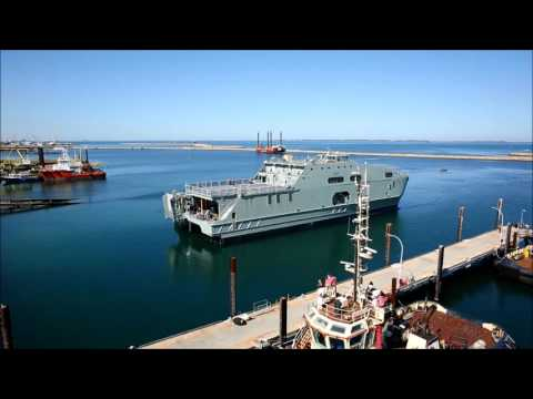 Aerial Footage of the 72m High Speed Support Vessel Launch