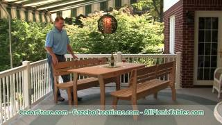 Red Cedar Contoured Picnic Table With Backed Benches From Fifthroom.com