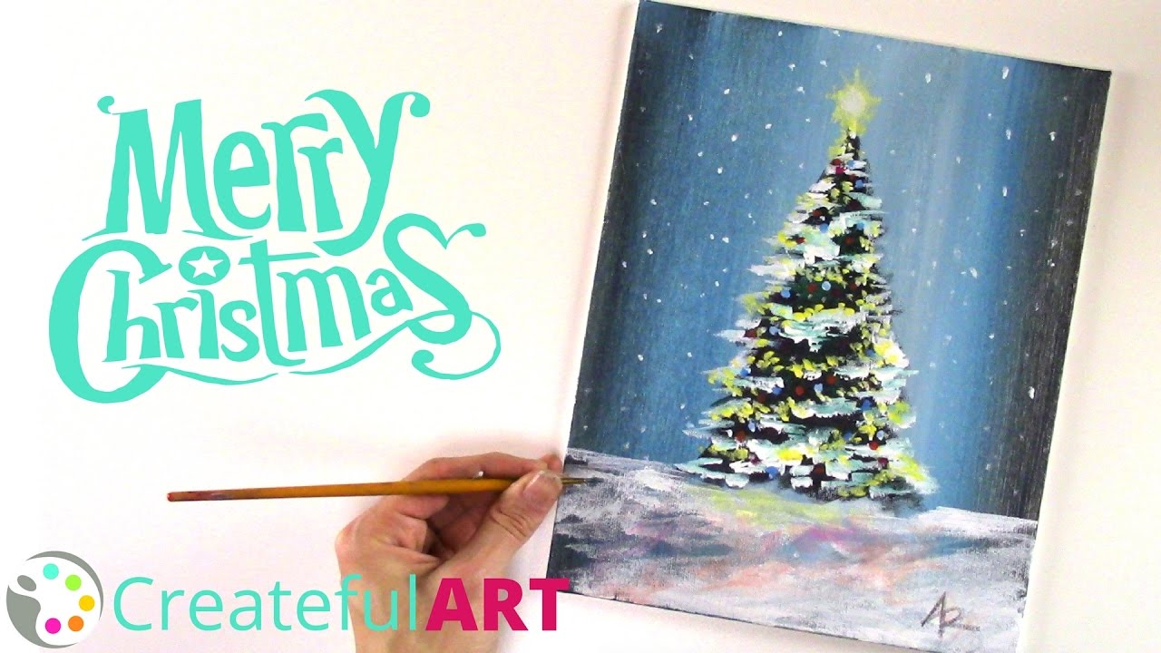 How To Paint a Christmas Tree --with Acrylics - YouTube