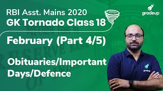 GK Tornado for RBI Assistant Mains 2020 Special   Obituaries/Important Days/Defence