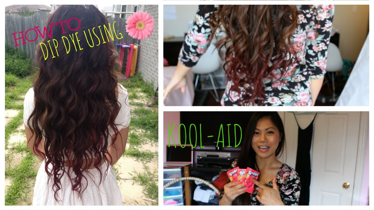 DIY HOW TO DIP DYE YOUR HAIR WITH KOOL AID YouTube
