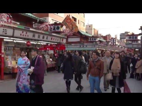 Япония. 1)Новогодние дни в храмовом комплексе Сэнсо-дзи в Асакуса.
