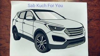 #12 How to Draw SUV (Car)  Hyundai Santa Fe  Step by step easily 😊