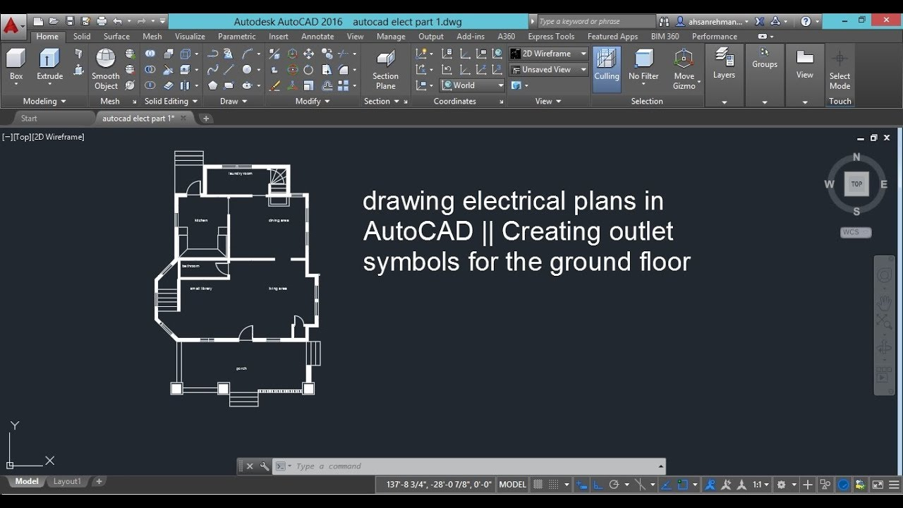 drawing electrical plans in autocad creating outlet symbols for ground floor [ 1280 x 720 Pixel ]