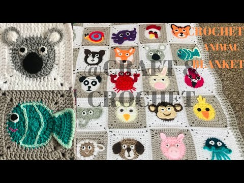 Crochet Fish/Crochet koala bear/ Crochet animal blanket/crochet baby blanket/Part:13