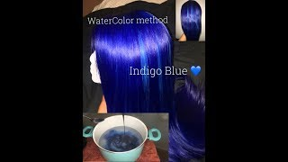 Water Color Dying Method! So quick and easy! Dye color- Indigo Blue...