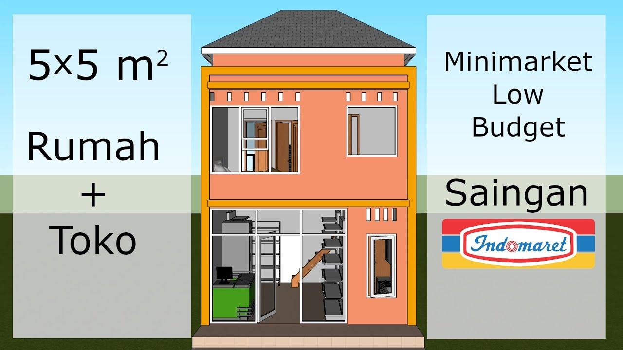 Desain Rumah Toko Ruko 5x5 Meter Youtube Denah rumah toko minimalis