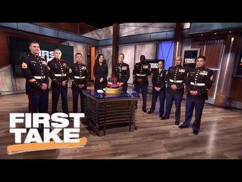 First Take celebrates 242nd United States Marines Corp birthday | First Take | ESPN