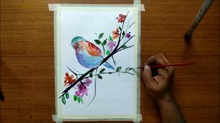 Draw and Paint Colorful Bird sitting on a Tree | Easy Watercolor Painting Lesson for Beginners