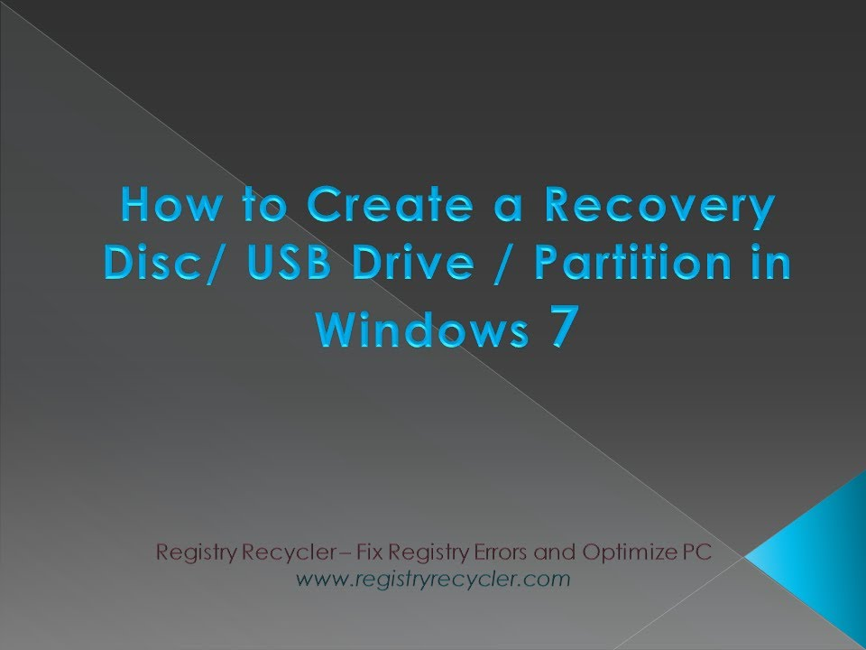 how to create windows 7 recovery usb