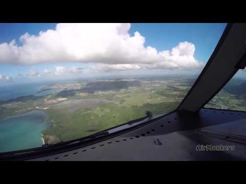 Antigua - Boeing 767 nose view - approach & landing -