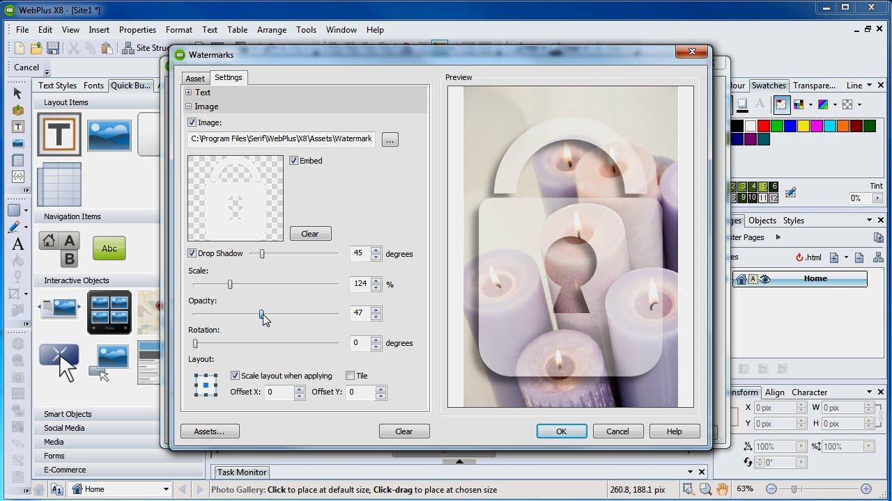 Serif WebPlus X8 Tutorial - Watermarking