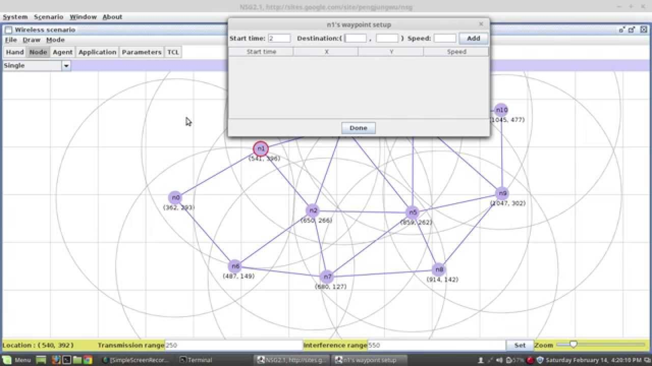 hight resolution of creating wireless network topology using nsg2 for ns 2