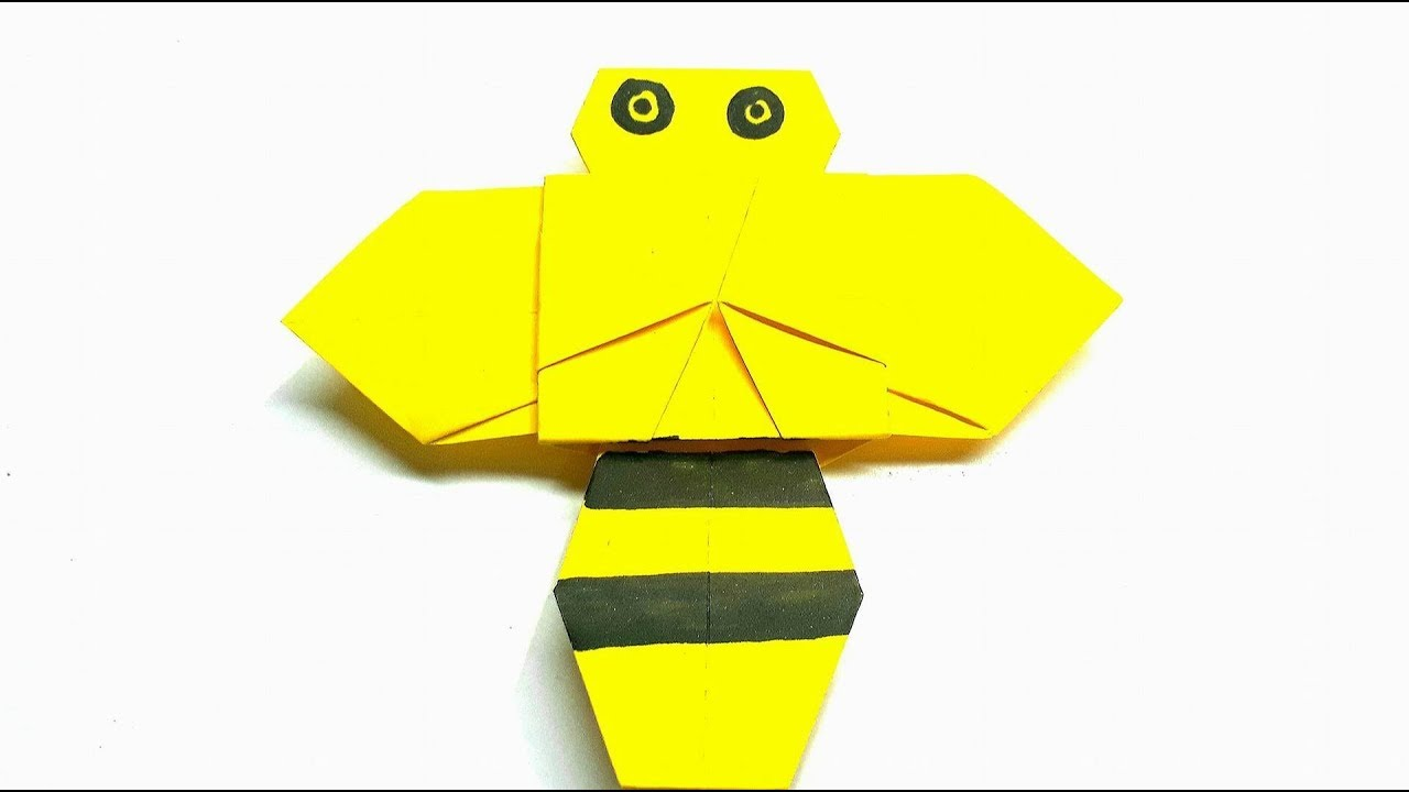 Origami Tutorial How To Fold An Easy Origami Bee Youtube