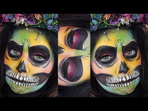 super easy halloween colorful sugar skull full face for
