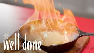 How to Make Flaming Cheese | Recipes | Well Done