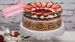 Erdbeer Quark Torte mit Biskuitrollen-Rand/ Backen mit Alex/ Geburtstagstorte/ Ostern