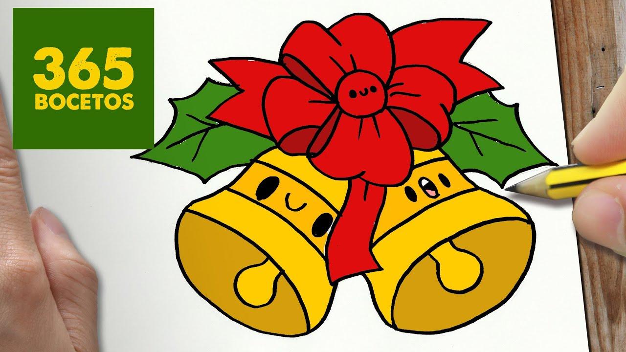 Como dibujar campana para navidad paso a paso dibujos - Campanas de navidad ...