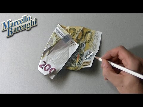 How to draw a 200 euro banknote
