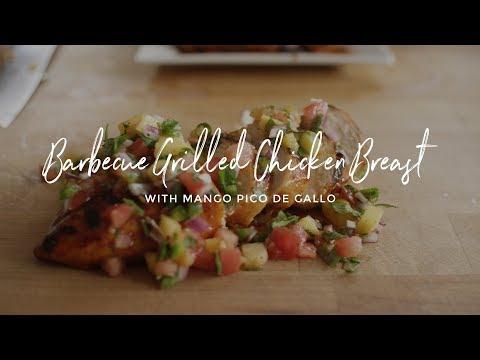 Barbecue Grilled Chicken Breasts With Mango Pico De Gallo