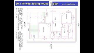 30 x 45 feet best west facing house plans   best west facing house plan   House Planner-2
