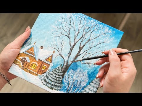 Cozy Wooden House in the Winter Forest - Acrylic painting / Homemade Illustration (4k)
