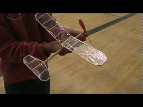 Indoor Flight Of Rubber Band Powered Airplane Youtube
