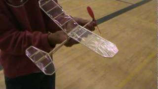 Indoor Flight Of Rubber Band Powered Airplane