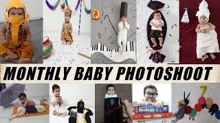 monthly baby photoshoot ideas at home| baby photoshoot with different themes | Monthly baby photos