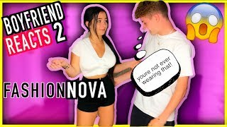 FASHION NOVA TRY ON HAUL PT. 2!  *Over Protective Boyfriend Reacts To Outfits