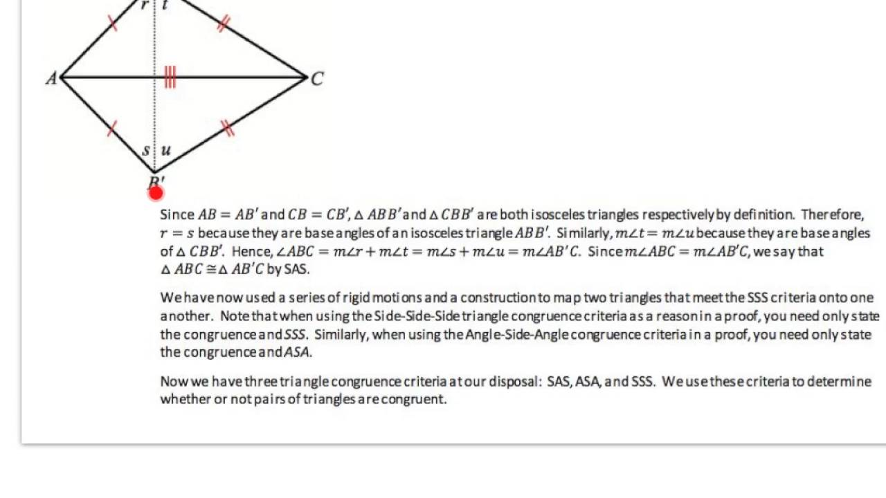 Geo L24 Congruence Criteria For Triangles Asa And Sss Youtube