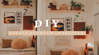 DIY STUDIO BEDROOM MAKEOVER + EASY DIY WALL DECOR