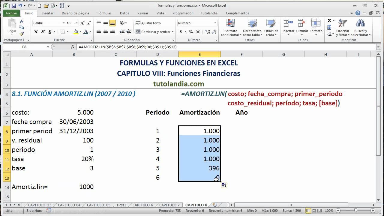 8 1 función amortiz lin fórmulas y funciones en excel youtube