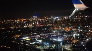 Night view of New York City from above, landing at LaGuardia airport