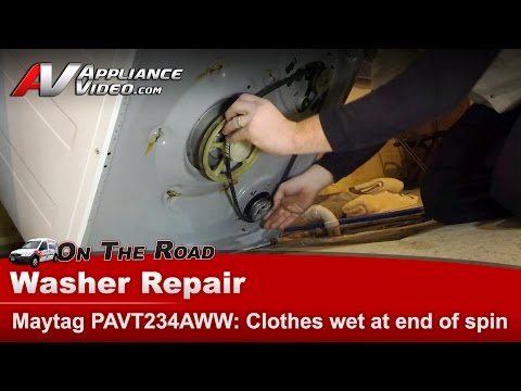 Maytag & Whirlpool Washer  clothes still wet at end of cycle  Belt replacement PAVT234AWW DR