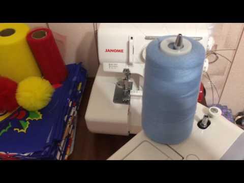 Как заправить большую катушку ниток на швейную машинку?