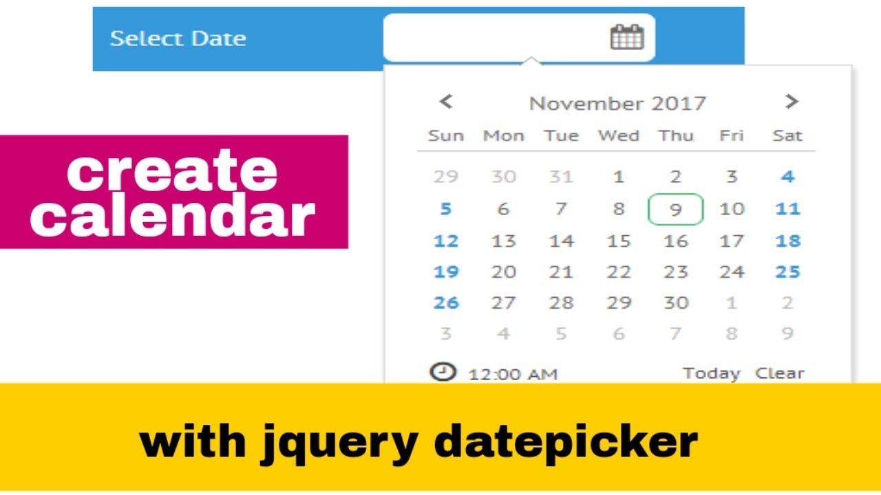 datepicker jquery ui example : download example code | cdn | bootstrap