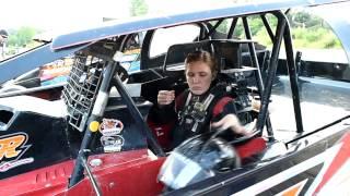 Beth Schneider driving her Sportsman Modified car