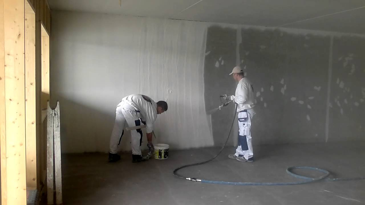 Spray On Plaster For Walls : Spray plastering concrete wall getting ready for painting
