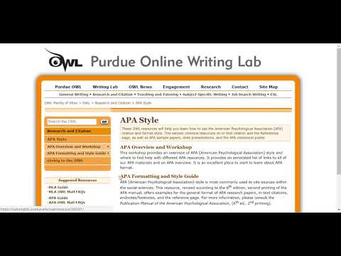Purdue Owl Resource For APA