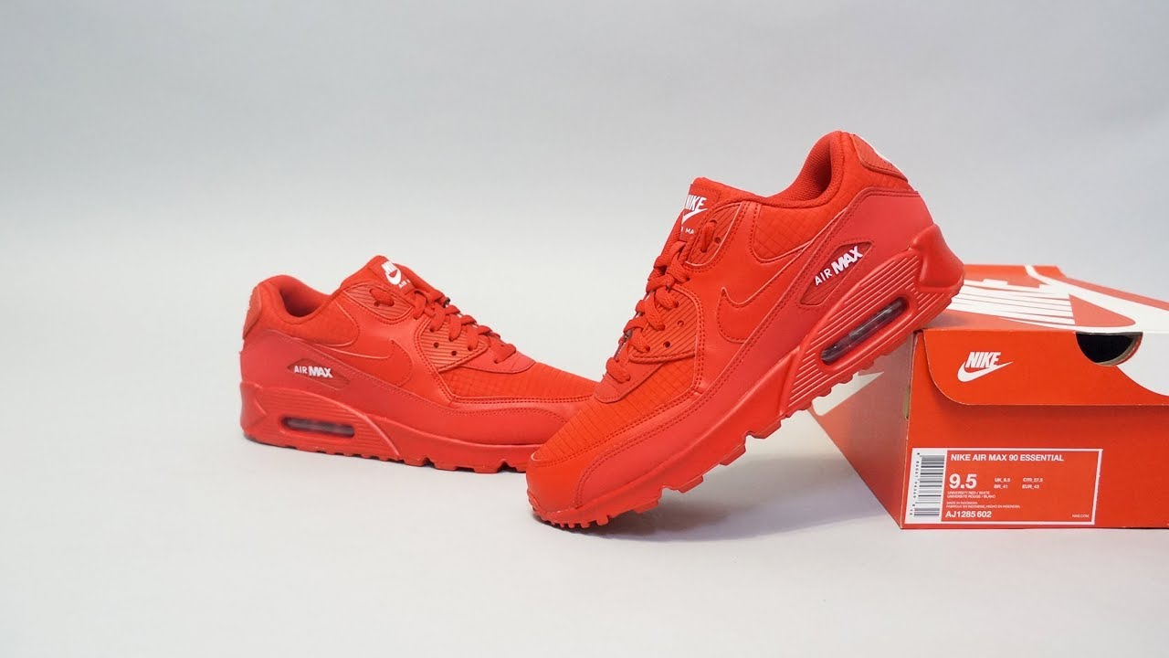 356bddd4ac39 Nike Air Max 90 Essential University Red AJ1285-602 - YouTube