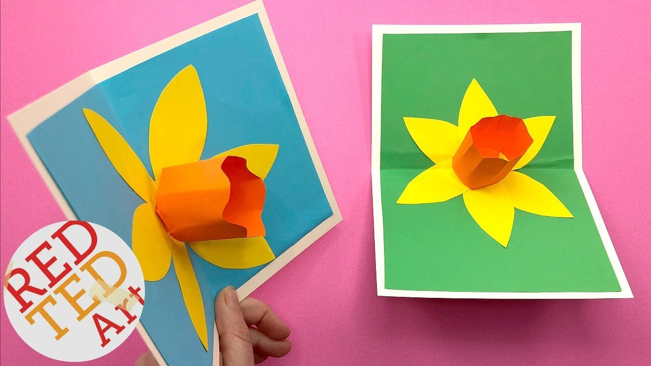 Diy 3d Flower Pop Up Card Diy Daffodil Mothers Day Teachers