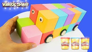 DIY How To Make Kinetic Sand Rainbow Wheels on The Bus - Learning Colours Videos For Children