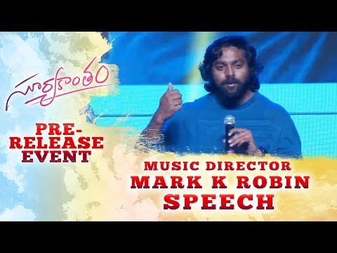 Music Director Mark K Robin Speech @ Suryakantham Pre Release Event