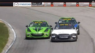 Global MX-5 Cup 2018. Race 1 Mid-Ohio Sports Car Course. Last Laps Battle for Win