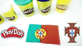 PLAY DOH how to make PORTUGAL flag - euro cup 2016 champions including Cristiano Ronaldo CR7