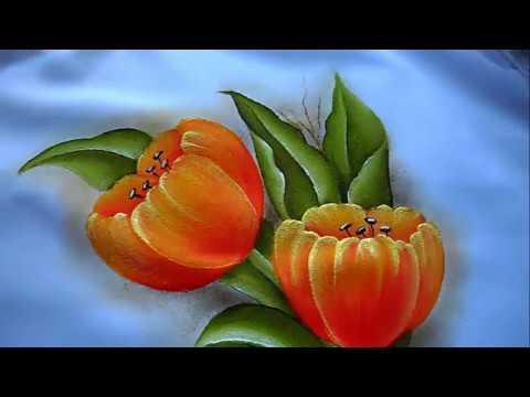 como pintar flores fcil  tulipanes  molde grtis  YouTube
