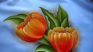 como pintar flores fácil /  tulipanes / molde grátis