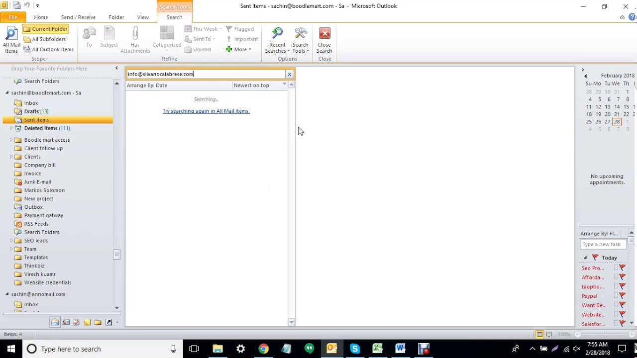 outlook 2018 search not working