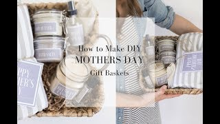 These handmade mother's day gift baskets are thoughtful and simple to make. they feature diy lip balm, candles, body spray, butter, a lavender roller bo...
